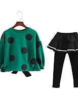 cheap -Girls' Daily Polka Dot Clothing Set, Cotton Polyester Spring Fall Long Sleeves Cute Green
