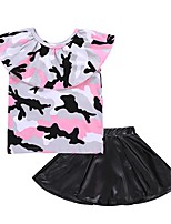 cheap -Girls' Daily Holiday Print Clothing Set, Cotton Spring Summer Sleeveless Cute Blushing Pink