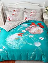 cheap -Duvet Cover Sets Floral 4 Piece Poly/Cotton Jacquard Poly/Cotton 1pc Duvet Cover 2pcs Shams 1pc Flat Sheet