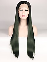 cheap -Synthetic Lace Front Wig Straight Layered Haircut Middle Part Color Gradient Green Black Women's Lace Front Natural Wigs Mid Length