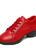 "cheap -Women's Dance Sneakers Synthetic Microfiber PU Tulle Heel Outdoor Low Heel White Black Red 1"" - 1 3/4"" Customizable"
