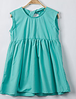 cheap -Girl's Daily Solid Dress, Cotton Summer Sleeveless Simple Green