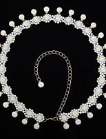 abordables -Danza del Vientre Ordinario Mujer Entrenamiento Rendimiento Poliéster Perlado Artificial Cadena Moderno Ocio Accesorios de Cintura