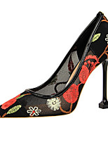 cheap -Women's Shoes Lace Spring Summer Novelty Comfort Heels Stiletto Heel Pointed Toe for Wedding Party & Evening Gold Black Red Blue Almond