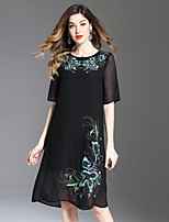 cheap -8CFAMILY Women's Sophisticated A Line Loose Dress - Floral Embroidered