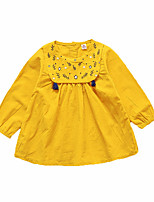 cheap -Girl's Daily Geometric Dress, Polyester Spring Long Sleeves Simple Blushing Pink Navy Blue Yellow