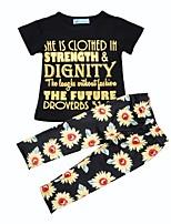 Недорогие -Девочки Повседневные Праздники Цветочный принт Набор одежды, Хлопок Весна Лето С короткими рукавами Очаровательный Черный