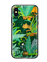 baratos -Capinha Para Apple iPhone X iPhone 8 Estampada Capa traseira Plantas Gato Rígida Vidro Temperado para iPhone X iPhone 8 Plus iPhone 8