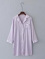 abordables -Normal Satin & Soie Pyjamas Femme, Couleur Pleine Fin Polyester Rose Claire Marine Gris Violet