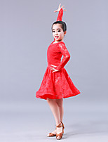 cheap -Latin Dance Dresses Girls' Training Performance Terylene Lace Long Sleeves Natural Dress