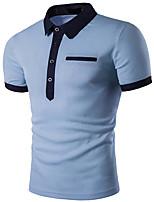 cheap -Men's Street chic Polo - Color Block, Basic Shirt Collar