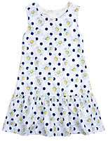 cheap -Girl's Daily Solid Polka Dot Dress, Cotton Linen Bamboo Fiber Acrylic Spring Sleeveless Simple Vintage White