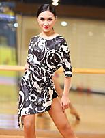 abordables -Danse latine Robes Femme Utilisation Soie Glacée Motif / Impression Ceinture / Ruban Fendue Demi Manches Robe
