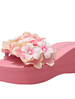 cheap -Women's Shoes PU Spring Comfort Slippers & Flip-Flops Wedge Heel Round Toe Satin Flower for Casual White Black Blue Pink