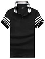 cheap -Men's Work Cotton Slim Polo - Striped Color Block, Print Patchwork Shirt Collar