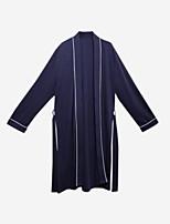 abordables -pyjamas costumes normaux pour hommes, solide coton moyen bleu marine gris foncé
