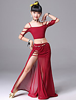 cheap -Belly Dance Outfits Training Polyester Split Sleeveless Dropped Skirts Top