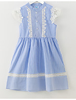 cheap -Girl's Daily Holiday Striped Dress, Cotton Summer Sleeveless Simple Blue