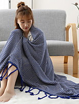 cheap -Coral fleece, Jacquard Striped Cotton/Polyester Polyester Blankets