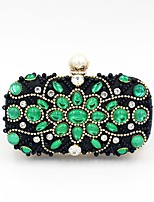 cheap -Women's Bags Polyester Evening Bag Buttons Crystal Detailing Pearl Detailing for Wedding Event/Party All Seasons Green