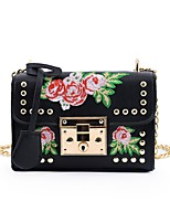 cheap -Women's Bags PU Shoulder Bag Rivet / Embroidery for Event / Party White / Black / Blushing Pink