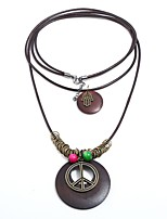 cheap -Men's Women's Bohemian Layered Necklace  -  Bohemian Statement Gothic Peace Sign Brown Necklace For Birthday School