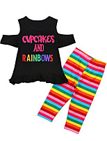 cheap -Girls' Daily Print Clothing Set, Cotton Polyester Summer Short Sleeves Cute Active Black