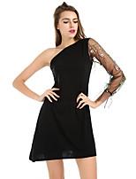 abordables -Femme Mince Noir Robe - Maille Brodée, Fleur Taille haute Une Epaule Mini