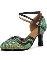 cheap -Women's Modern Sparkling Glitter Leatherette Sandal Heel Professional Customized Heel Green Customizable