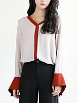cheap -Women's T-shirt - Color Block V Neck