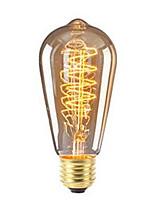 Недорогие -1шт 40 Вт E26/E27 ST64 Тёплый белый 2200-2700 К Ретро Диммируемая Декоративная Лампа накаливания Vintage Эдисон лампочка 220-240V