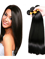 cheap -Brazilian Hair Straight Human Hair Weaves 4-Pack Natural Color Hair Weaves
