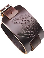 cheap -Men's Leather Cool Steampunk 1pc Leather Bracelet - Steampunk Gothic Wolf Black Brown Bracelet For Club Street