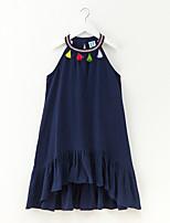 preiswerte -Mädchen Kleid Alltag Festtage Solide Baumwolle Leinen Frühling Sommer Ärmellos Einfach Aktiv Blau Rosa