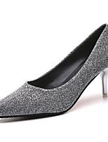 preiswerte -Damen Schuhe PU Frühling Sommer Komfort High Heels Stöckelabsatz Spitze Zehe für Normal Gold Schwarz Silber