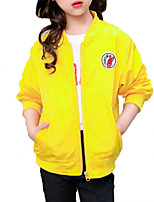cheap -Girls' Daily Sports Solid Print Jacket & Coat, Polyester Spring Fall Long Sleeves Simple Casual Black Red Yellow