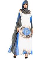 baratos -Mulheres Boho Solto balanço Vestido - Frufru Básico Estampado, Floral Geométrica Xadrez Longo