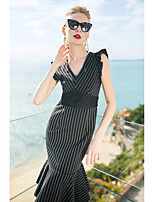 cheap -Women's Sophisticated Trumpet/Mermaid Dress - Striped, Lace V Neck