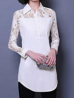 cheap -Women's Slim Shirt - Solid Colored Shirt Collar