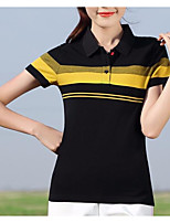 cheap -Women's T-shirt - Striped Shirt Collar