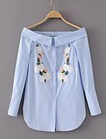 Недорогие -Жен. Рубашка, Вырез лодочкой Цветочный принт