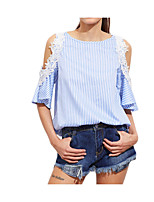 cheap -Women's Cute Active Cotton Slim T-shirt - Solid Colored Striped