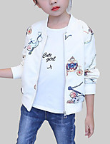 cheap -Girls' Daily Print Jacket & Coat, Polyester Spring Fall Long Sleeves Casual Beige