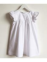 Недорогие -Девичий Платье Повседневные Хлопок Однотонный Лето С короткими рукавами Простой Белый Пурпурный