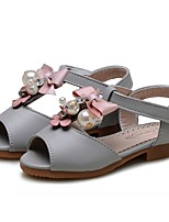 cheap -Girls' Shoes Leatherette Spring Fall Comfort Flats Satin Flower Flower for Outdoor Dress Beige Gray Pink