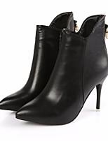 preiswerte -Damen Schuhe PU Herbst Winter Stiefeletten Komfort Stiefel Stöckelabsatz Booties / Stiefeletten für Normal Weiß Schwarz Rot