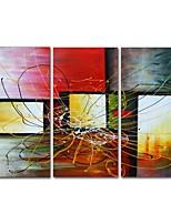 preiswerte -Hang-Ölgemälde Handgemalte Abstrakt Horizontal Panorama, Zeitgenössisch Modern Segeltuch Haus Dekoration Drei Paneele
