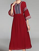 Недорогие -Жен. Свободный силуэт Платье - Контрастных цветов, Классический Завышенная