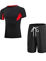 cheap -Men's Activewear Set Short Sleeve / Short Pant Breathability Clothing Suits for Jogging Polyester Blue / Red / White / Grey L / XL / XXL