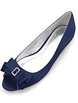 abordables -Femme Chaussures Satin Printemps Eté Confort Chaussures de mariage Talon Plat Bout ouvert Strass Noeud Paillette Brillante pour Mariage